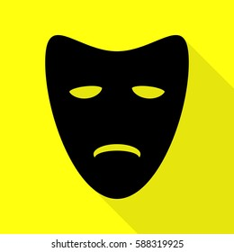 Tragedy theatrical masks. Black icon with flat style shadow path on yellow background.