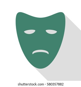 Tragedy theatrical masks. Veridian icon with flat style shadow path.