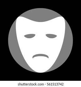 Tragedy theatrical masks. White icon in gray circle at black background. Circumscribed circle. Circumcircle.
