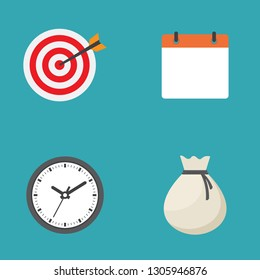 Traget, calendar, clock and money bag icon flat design vector illustration