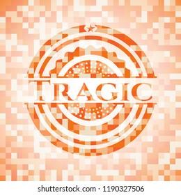Tragic abstract emblem, orange mosaic background