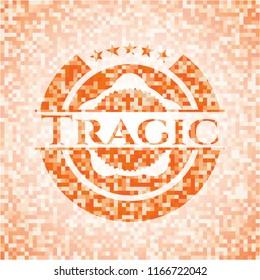 Tragic abstract orange mosaic emblem with background