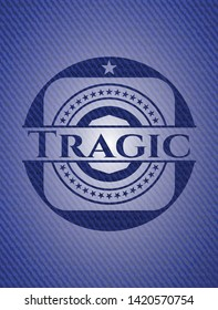 Tragic badge with jean texture. Vector Illustration. Detailed.