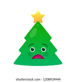 Tragic christmas tree isolated emoticon. Sorrowful green fir tree with decoration emoji. Merry Christmas and happy new year vector element. Sad face with facial expression. Winter holidays symbol