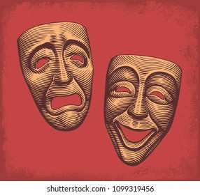 Tragic and comic classic theater masks. Hand drawn engraving. Vector vintage illustration. Isolated on red background. 8 EPS