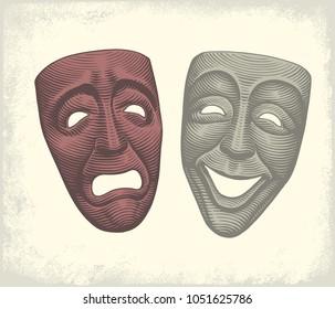 Tragic and comic masks. Hand drawn engraving. Vector vintage illustration. 8 EPS