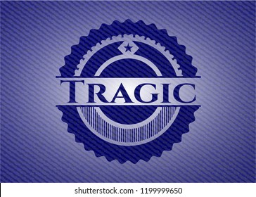 Tragic emblem with denim high quality background