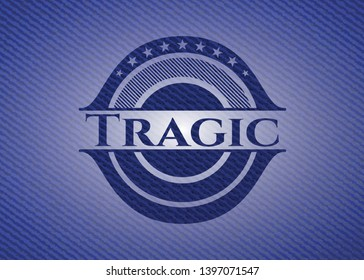 Tragic emblem with jean high quality background. Vector Illustration. Detailed.