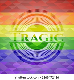 Tragic emblem on mosaic background with the colors of the LGBT flag