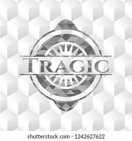 Tragic grey emblem with cube white background