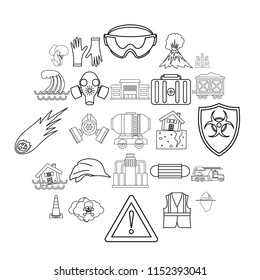 Tragic icons set. Outline set of 25 tragic vector icons for web isolated on white background