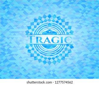 Tragic light blue mosaic emblem