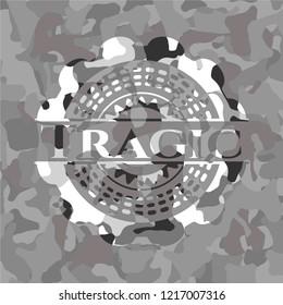 Tragic on grey camouflaged pattern