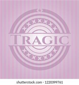 Tragic pink emblem. Vintage.