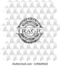 Tragic realistic grey emblem with cube white background