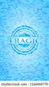 Tragic sky blue mosaic emblem