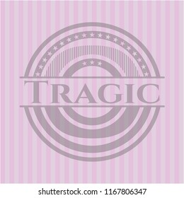 Tragic vintage pink emblem