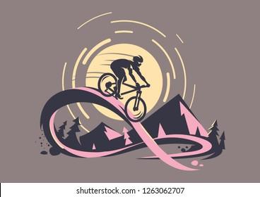 Trail ride tour. Mountain bike emblem