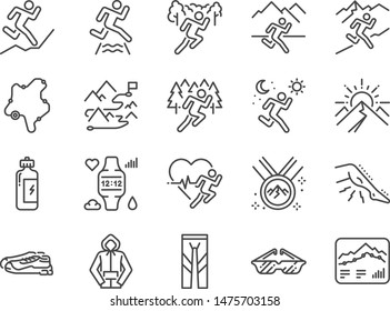 Trail running line icon set. Included icons as runner, sport, healthy, mountain course, marathon and more.