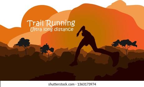 Trail running silhouettes. Vector illustration,Runner in mountain landscape