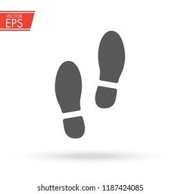 Trail of shoes. Boot foot print. Footwear step illuastration. Leg mark symbol. Footmark sign. Foot icon. Step symbol. Feet print illustration. Human footstep emblem.