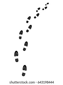Trail of shoes prints, turn right, vector