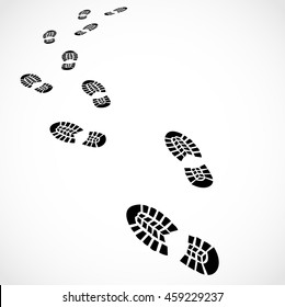 Trail of a sport shoes prints vector
