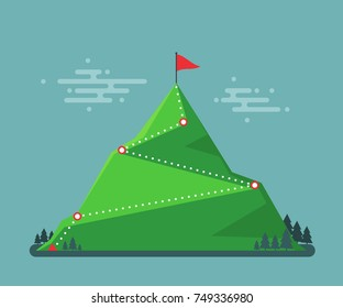 Trail to winner. Climbing hiking. Flag on the mountain peak. Way to successful Business. Vector illustration