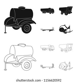 Trailer with a barrel, truck and other agricultural devices. Agricultural machinery set collection icons in black,outline style vector symbol stock illustration web.