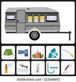 Trailer camp, caravan camper van, camping and traveling icons set, isolated on white