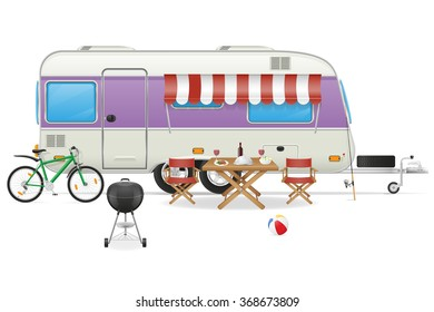 trailer camp caravan mobil home vector illustration isolated on white background