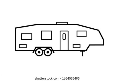 Trailer Fifth wheel outline icon. Clipart image isolated on white background