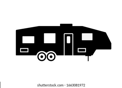 Trailer Fifth wheel silhouette icon. Clipart image isolated on white background