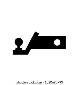 Trailer hitch black silhouette. Towbar vector icon isolated on a white background.