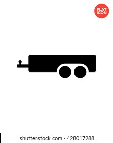 Trailer Icon Flat Style Isolated Vector Illustration