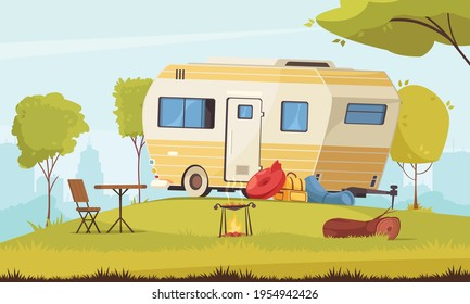 Trailer outside area with camping table folding chair barbecue in city suburb caravan park cartoon composition vector illustration