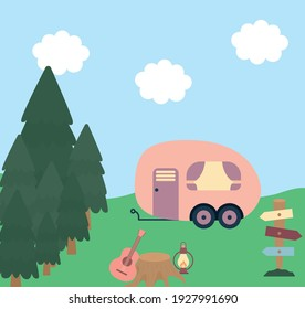 trailer over forest in day