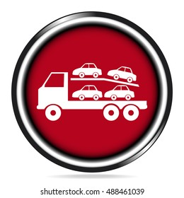 Trailer Truck icon, Trailer truck and car on red button vector illustration