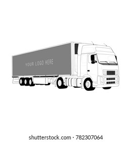 Trailer truck. Vector illustration. Technical drawing.