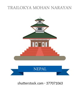 Trailokya Mohan Narayan Temple in Nepal. Flat cartoon style historic sight showplace attraction web site vector illustration. World countries cities vacation travel sightseeing Asia collection.