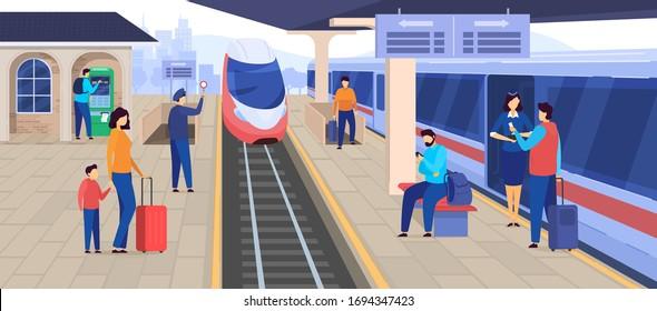 Train arrives at railway station, people waiting on platform, passenger cartoon character, vector illustration. Railroad transport, commuter train departure, urban rail service industry ticket machine