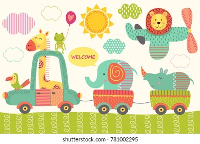 train with baby jungle animals  - vector illustration, eps