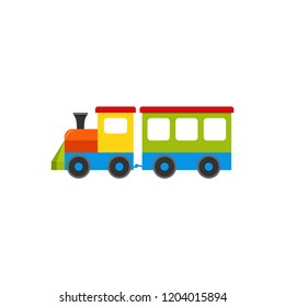 Train baby toy. Vector. Kids toy, train with wagon icon isolated on white background in flat design. Cute cartoon illustration.