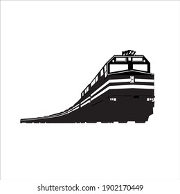 train black and white 3D silhouette.