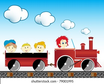 train with children, abstract vector art illustration