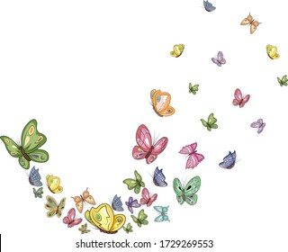 a train of colored butterflies of different sizes on a transparent background