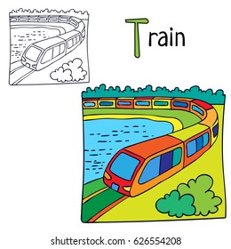 Train. Coloring book page. Cartoon vector illustration