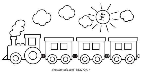 train, coloring page, vector icon, vlak, omalovánka