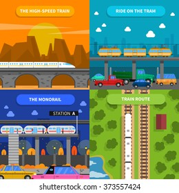 Train concept icons set with high-speed train tram and monorail flat isolated vector illustration