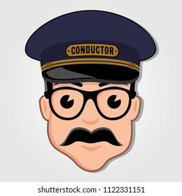 Train Conductor Cartoon Face. Vector illustration.